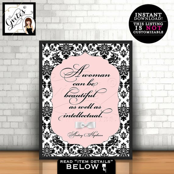 Audrey Hepburn Quote wall art, poster, blush pink Audrey quote, a woman can be beautiful just as well as intellectual, PRINTABLE