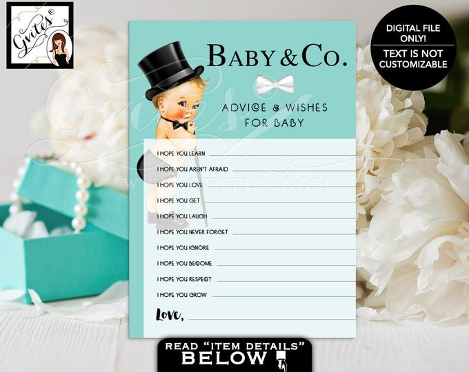 """Baby advice cards, Baby and Co BABY SHOWER, baby advice cards, baby wish, breakfast at blue wishes for baby PRINTABLE, 5x7"""" 2 Per/Sheet."""