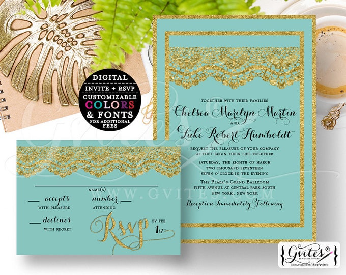 """Gold & Turquoise Blue wedding invitation and response card, PRINTABLE customizable, modern invites, lace glitter {Invite 5x7"""" RSVP 5x3.5""""}"""