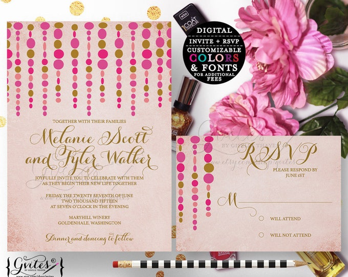 Rose gold wedding invitations, summer printable invite with response card, pink and gold blush, modern invitation, customizable. {5x7 5x3.5}