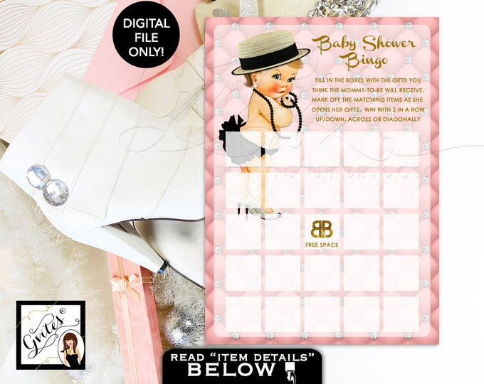 "Baby shower bingo, pink and gold, designer baby, fashionista baby diamonds pearls, pink gold, PRINTABLE  {You Print} 5x7"" 2Per Sheet."