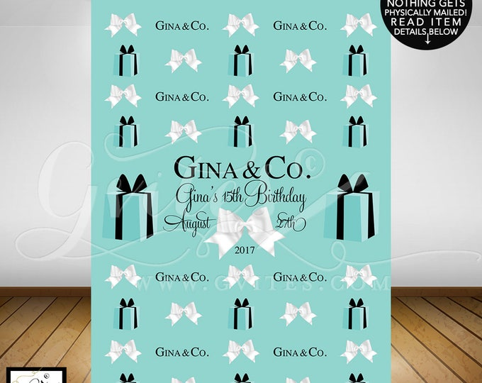 Step and repeat 15th birthday, backdrop breakfast at blue theme photo back drops, co signs, wall sign, PRINTABLE, turquoise blue white bow.