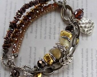 bracelet, pyrite bracelet, gold bracelet, citrine bracelet, artisan bracelet, biker bracelet, boho chic bracelet, gifts for her
