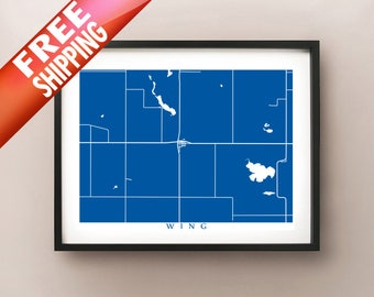 Wing, North Dakota Map Print