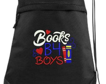 Books Before Boys Drawstring Bag/ School Drawstring Bag/ School Cinch Bag/ Books B4 Boys Bag/ Funny Drawstring Bag