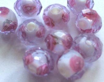 """""""tosca"""" lilac faceted bead"""