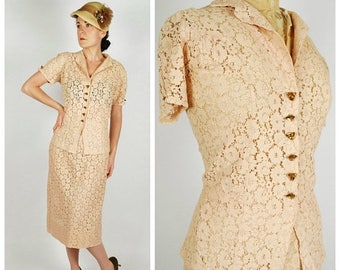 SALE 25% Off 1930's Lace Suit - 30's 2 PC Skirt Set - Peach Ecru Wedding Set - Size L/Xl