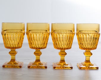 Vintage Amber Wine Glasses / Set of 3 Honey or Amber Colored Textured Goblets / Yellow Cocktail Barware Icicle Ice Stemware