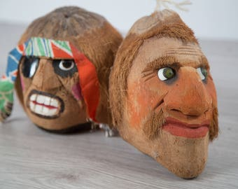 Vintage Coconut Pirate Heads / Pair of Tropical Hanging Carved Coconut Heads with Shell Eyes / Hawaiian Tiki Halloween Decor