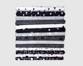 Monochrome Black and White  - 14 x 1/4yd Bundle