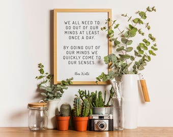 Alan Watts Quote Wall Art - Motivational Poster - Wisdom Quote - Simple Truths