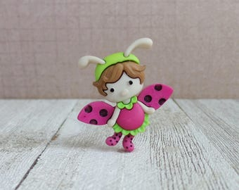 Fairy - Lady Bug - Flying Lady Bug - Little Girl - Good Luck Charm - Inspiration - Lapel Pin