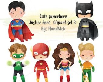 Cute superhero Clipart set 3, Justice hero clipart  PNG file-300 dpi