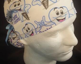 Dental Implants Dentist Ponytail Ribbon Tie Back Surgical Scrub Hat