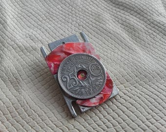 Brooch piece of french 25 centimes 1927