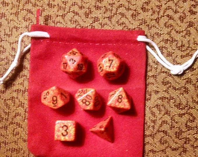 Retrocon Sale - Fireball - 7 Die Polyhedral Set with Pouch