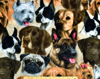 FLEECE Dog Fabric Dog Selfies Wild Wings From David Textiles
