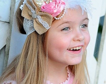 Pink and Off White Rustic Flower Feather and Bow headband, Toddler headband, baby bow,  baby girl headband, bow headband, sparkle headband