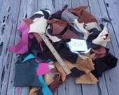 Soft leather scraps in assorted colors , Leather remnants , Craft leather scraps, diy leather supplies