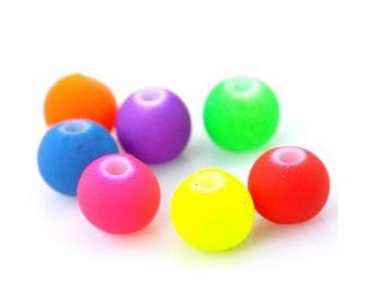 X 10 round pearls fluorescent touch velvet mix colors 8mm