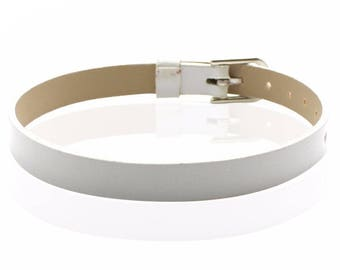 Faux leather white 22 cm bracelet