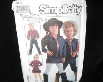 Childs western wear shirt pants skirt Simplicity 8259 Boys Girls Size 3 Western shirt pants skirts jacket vest
