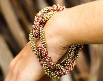 Large Stretchy Open Link Bracelet with Multi Color Gemstone's & 14kt Gold Beads