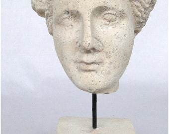 Faux Marble Vesuvius Bust Statue Sculpture on Pedestal and Pole