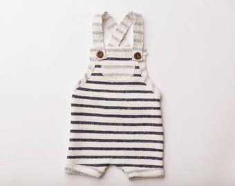 "Newborn Boy Romper- ""Timothy"" dark navy blue and cream stripes newborn romper, overalls, baby photo prop, baby boy, newborn romper, stripes"
