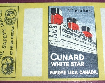 Vintage Unused Cunard Line cruise ship matchbox label