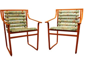 Pair Of Mid Century Modern Atomic Orange Samsonite Outdoor Scoop Seat Iron  Arm Chairs