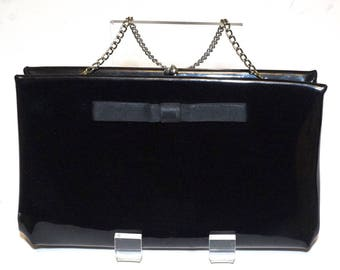 Vintage Harry Levine U.S.A. Evening Bag,Black Patent Clutch with Bow Detail and Chain Strap,50s-60s Black Evening Bag,Formal Purse,Party Bag