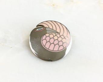 Vintage Laurel Burch Mynah Bird Silver Pink Enamel Brooch