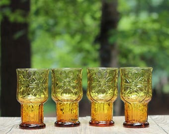 Set of Four Libbey Country Garden Coolers  / Libbey Amber Daisy Glasses / Libbey Amber Glasses / Libbey Amber Country Garden Coolers