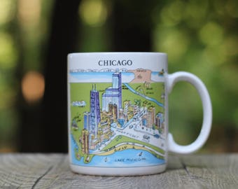 Vintage Chicago Novelty Mug / Harvey Hutter A View of the World Mug / Chicago Coffee Cup / Chicago Housewarming Gift / Chicago Gift