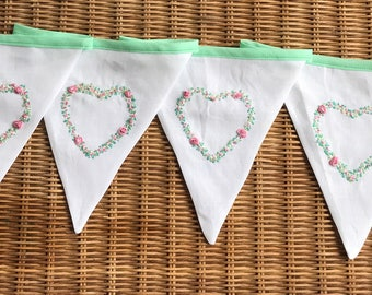 Embroidered Rose Heart Bunting