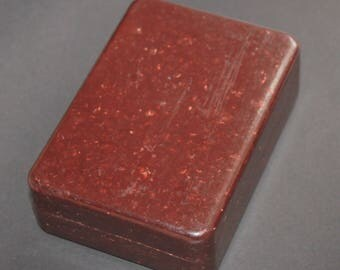 Antique Bakelite Card Box in Brown. c1920s . Made by Bebrit of Germany. Art Deco Age
