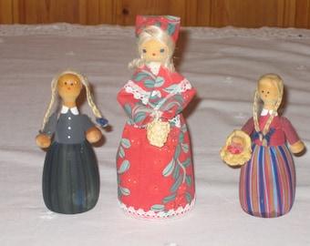 Swedish Handmade/Handpainted Vintage Wooden Dolls