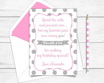 Printable Pink and Silver Girls Thank you Card, Birthday Thank you Card, Silver Sparkle Pink Thank you card, Silver and Pink Thank you
