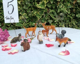 Woodland animal table number holders stag doe fawn otter rabbit owl fox squirrel eight animals