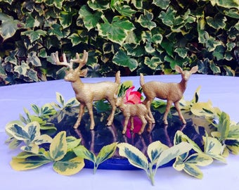 Deer stag doe and fawn Gold cake topper or table number holder.