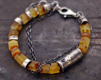 SALE 10 - 20 % OFF use the code • Raw Baltic amber bracelet • raw sterling silver •  Chain bracelet • 925 Sterling silver • organic modern