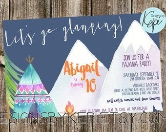 Birthday Invitation - Sleepover -Camping, Glamping, tents