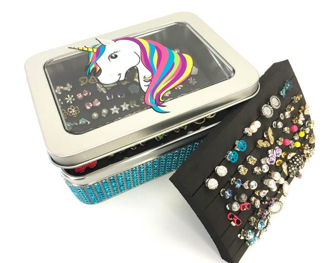 Unicorn Tin Jewelry Box - Turquoise Dazzled Ribbon - Earring Holder
