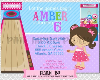 Arcade Games, Carnival, Kids, Girl:Design #160-Children's Birthday Invitation, Personalized, Digital, Printable, 4x6 or 5x7 JPG