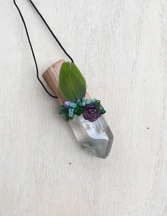 Cedar, Garden Quart, Amethyst, Aventurine, Charoite &Dioptase Shamanic Traveling Wand OOAK Healing Pendant, Crystal Garden Reiki