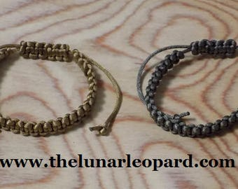 Adjustable Satin Cord Braided Friendship Bracelets - Set of 2 - Silver and Gold
