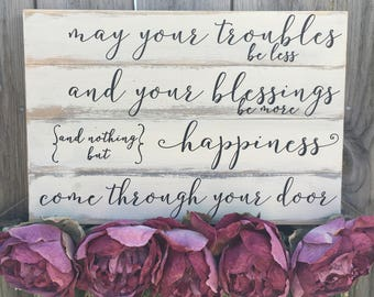 Wood Sign with Irish Blessing, Irish Blessing Sign, Rustic Wooden Sign, Housewarming Gift, Gift for New Homeowner, Closing Gift, Primitive