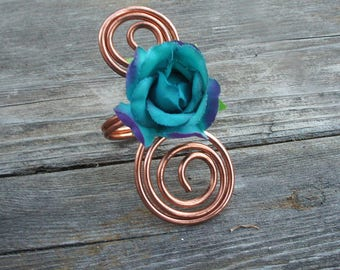 Copper & Turquoise Flower Napkin Rings, Great 7th Wedding Anniversary Gift