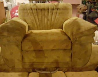 1940s Golden Frieze Sofa And Matching Frieze Club Chair Mid Century Modern